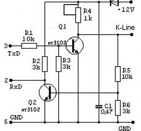 K-line адаптер для диагностики