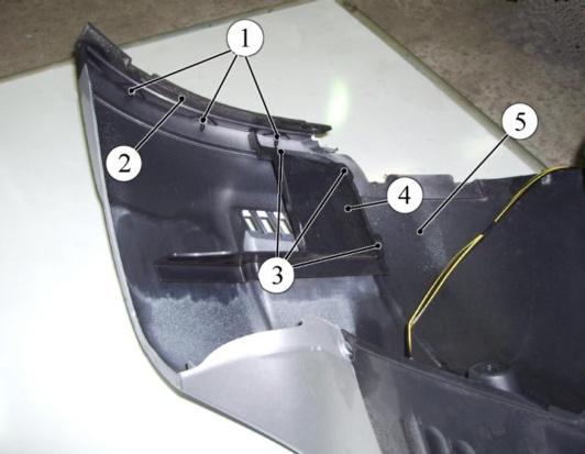 Крепления надставки и дефлектора заднего бампера