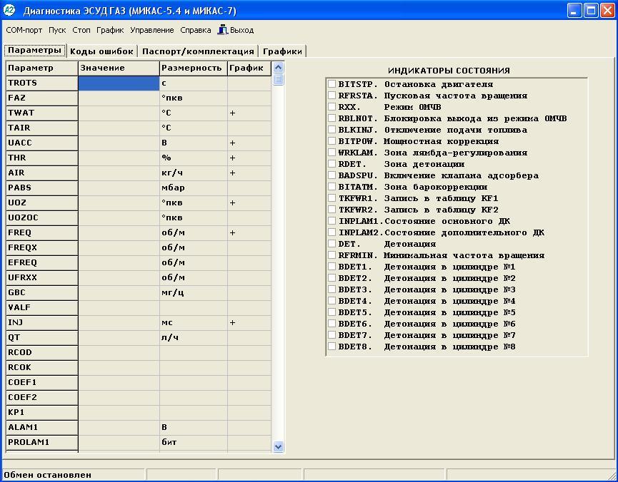 Программа для диагностики ЭБУ Микас-5.4, Микас-7