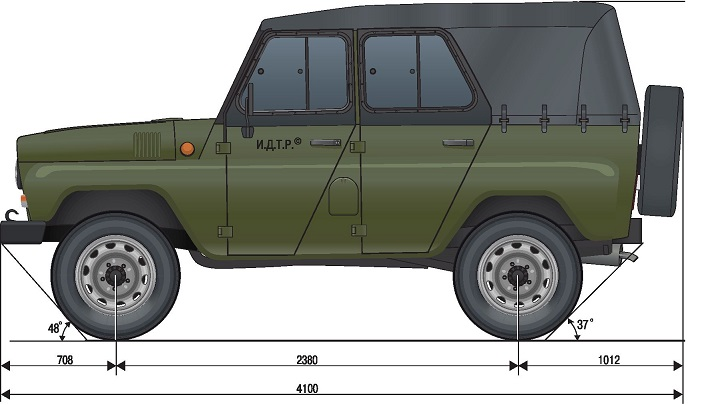 UAZ 469 габаритные размеры