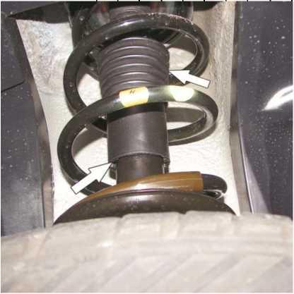 Рисунок 1.7 - Проверка состояния и герметичности амортизаторных стоек передней подвески