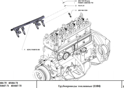 Каталог деталей двигателя УМЗ-4216