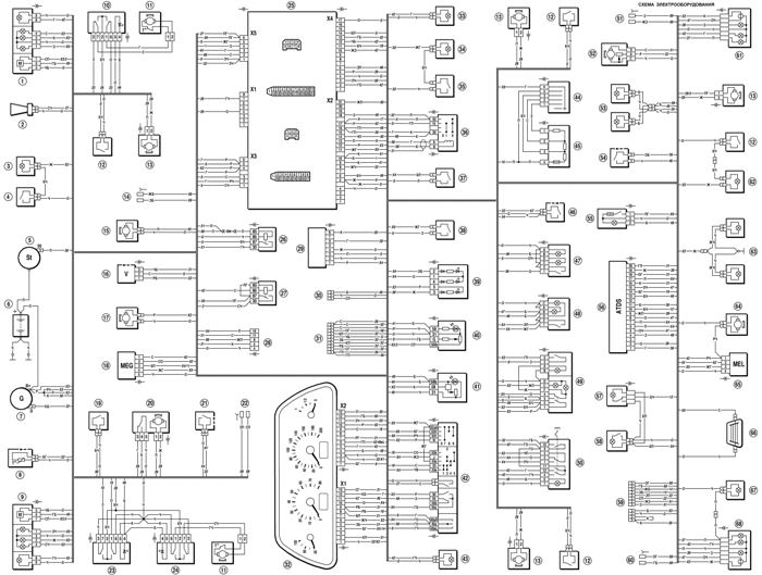Электрическая схема Нива Шевроле (ЭБУ MP 7.0)