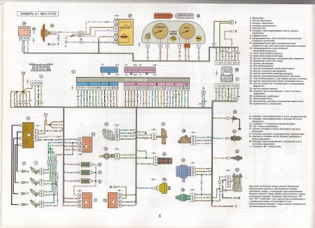 Электросхема системы управления двигателем Январь 4.1 ВАЗ 21102