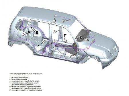 Схема монтажа жгутов проводов Нива Шевроле GLC
