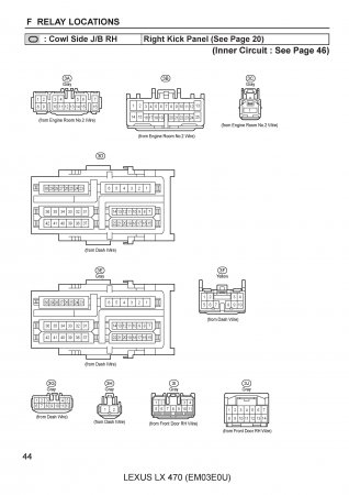 Lexus LX470 - схема расположения монтажных блоков и реле