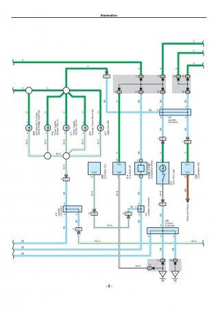 Lexus LX470 - электросхема освещения передней панели