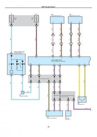 Lexus LX470 - электрическая схема SRS (пассивной системы безопасности)