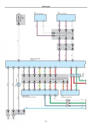 Lexus LX470 - электрическая схема системы рулевого управления VGRS