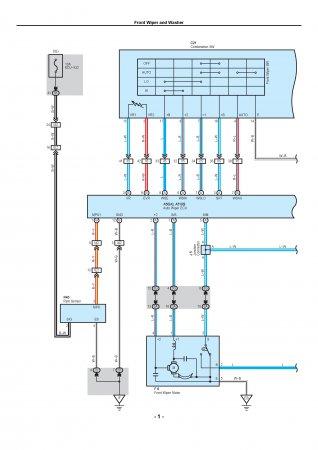 Lexus LX470 - электрическая схема подключений стеклоочистителей и омывателя